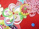 ちりめん生地 和布 古布 はぎれ◆昭和レトロな大柄な花柄 赤 YS05-01(10cm)