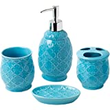 Bathroom Designer 4-Piece Ceramic Bath Accessory Set | Includes Liquid Soap or Lotion Dispenser w/ Toothbrush Holder Tumbler