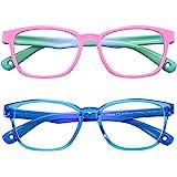 AHXLL Kids Blue Light Blocking Glasses 2 Pack, Anti Eyestrain & UV Protection, Computer Gaming TV Phone Glasses for Boys Girl
