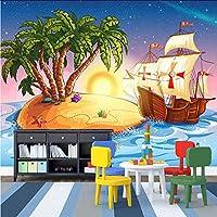 Hwhz カスタム3D壁紙漫画海賊船写真壁画子供部屋幼稚園ラブリーインテリア壁紙-200X140Cm