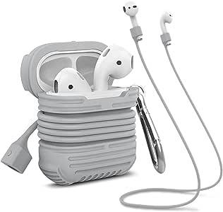 Apple AirPods ケース シリコンカバー ネックストラップ付き Appleワイヤレスイヤホン用 滑り止め 耐衝撃 落下・紛失防止 MeanLove (Aグレー)