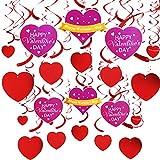 Chuangdi 35ピース バレンタインハンギングハート 渦巻き バレンタインデー 吊り下げ ホイル 渦巻き デコレーション 記念日 結婚式 誕生日 ブライダルシャワー 独身パーティー用品