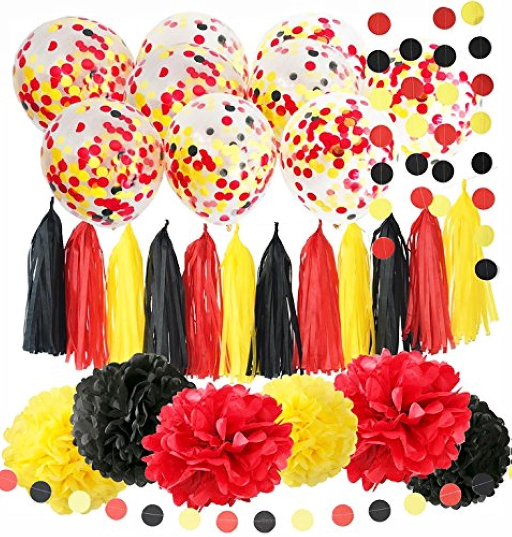 ミッキーマウス誕生日デコレーションミッキーマウスカラーパーティーSuppliesイエローブラックレッド紙吹雪Ballons Tissueペーパーポンポン付きタッセルガーランドミッキーベビーシャワーデコレーション