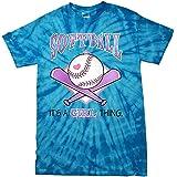 Softball Tie Dye T-Shirt It's a Girl Thing-bluetiedye