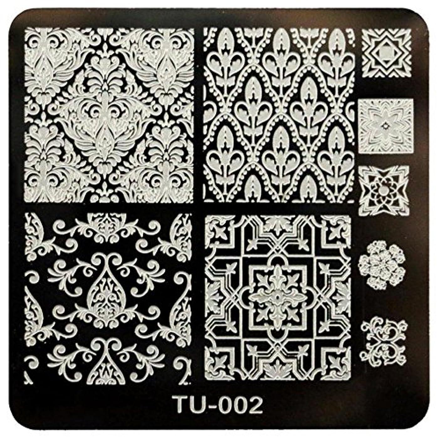 雇った粘性の露CUHAWUDBA DIYネイルアート画像スタンププレート マニキュアテンプレート(TU-002)