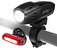 BV Super Bright (300 Lumens) USB Rechargeable Bike Headlight with Free Taillight| 1300mAh Lithium Battery | Water Resistant I