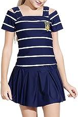キッズスクール水着 子供 女の子 セパレート ストライプ 2点セット 半袖 9-14歳 140 150 160cm
