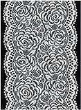 日本製 ローズ フラワー 柄 チュール レース 約13.5cm幅 (手芸 用) オフホワイト