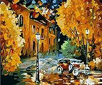 [木製フレーム] 40x50cmDIY 数字油絵 塗り絵 キットコレクション - ままにして車〔並行輸入品〕