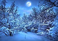 絵画風 壁紙ポスター (はがせるシール式) 雪化粧とスーパームーン 雪 森林 冬景色 ムーンライト 満月 月 癒し キャラクロ MON-026A1 (A1版 830mm×585mm) 建築用壁紙+耐候性塗料