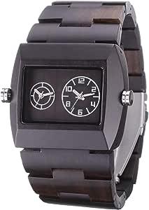 Bewell 木製腕時計 メンズ ウッドウォッチ クオーツ時計 スクエア 手作り シンプル エコ アレルギー対応(黒檀) …