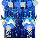 サメ誕生日パーティー 男の子 ブルー ベビーシャワー 100日 タッセルカーテン 海 アルミバルーン バナー ホワイト風船 24個