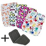 TheChoice ワンサイズ おむつカバー セット 3レイヤ棉素材の布おむつライナーを含め サイズ調整可能 4枚組 「S1/S2/S3/S4柄」