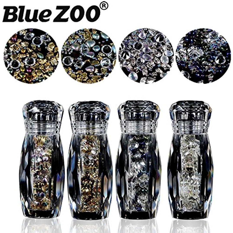 見つける踏みつけリア王BlueZOO (ブルーズー) 4本/セット クリスタルボトル 不規則なゴールドシルバースタッド + コブルストーン + エルフ ミニビーズ