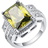 VPbao Women Thin Band Ring with Crystal Plated 925 Sterling Silver Rings Jewellery Yellow