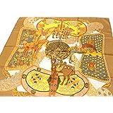エルメス スカーフ カレ HERMES(エルメス) シルクスカーフ カレ ART des STEPPES(ステップ美術) ブラウン系 [中古]
