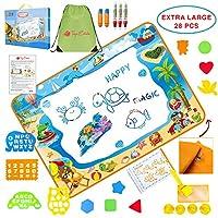 Toys Estate AquaDoodle マット 幼児用お絵かきパッド - 水マジックお絵かき&塗り絵 - 大きなボード ペン5本&描画アクセサリー 遊び&開発