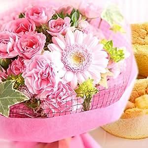 誕生日 プレゼント 花とスイーツセット 生花 ミニ花束 シフォンケーキ 花ギフト (ピンク)