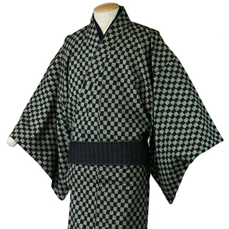 東レシルック 着物 反物 洒落小紋 市松 茶×淡緑 仕立て上がり 単衣