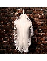 シュウクラブ- ベールウェディングブライダルベールショート段落レースフラワーウェディングウェディングドレス