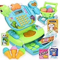 RaiFu おままごと おもちゃ セット 受付 電卓 スキャナセット シミュレーション 多機能 現金帳 教育 擬似 親子おもちゃ 幼稚園 可愛い 女の子 誕生日 プレゼント ショッピングカート付き 緑の恐竜