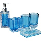 (Blue) - Generic 5-Piece Resin Bathroom Accessory Set with Soap Dish, Dispenser, Toothbrush Holder and Tumbler, Blue