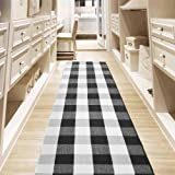 "USTIDE Black and White Buffalo Plaid Kitchen Rug Hand Woven Checkered Accent Area Rug 23.6""x70"""