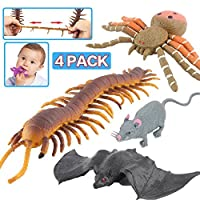 Halloween Toys,Joke Tricks 9 Inch Rubber Spider Bat Mouse Centipede Toy Set,Food Grade Material TPR Super