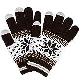 (トレリア) Trelia スマホ 手袋 レディース タッチパネル ニット グローブ 雪柄 ノルディック柄 防寒 あったか #a111 (ブラウン)