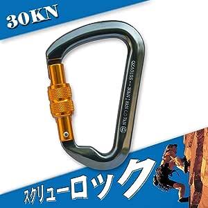 カラビナ 登山用 スクリューロック(ねじ式)安全環付き カラビナ 30KN D環 CE認証 操作簡単 アルミニウム合金製 超軽量 アウトドア装備