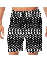 メンズ水着 ビーチショーツ ショートパンツ キュートスカルパターン スイムショーツ サーフトランクス 速乾 水陸両用 調節可能