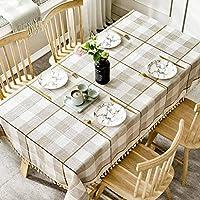 ステッチタッセルギンガムテーブルクロス、 ヨーロピアンスタイル コットンとリネン 四角形テーブルのテーブルクロス 現代のシンプルさ 防汚 デコラティブ テーブルカバー-C-90×130センチメートル(35×51インチ)