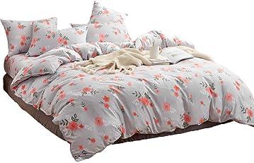 Hanacat 布団カバー セミダブル 4点セット 寝具カバーセット ベッド用 洋式 フラワー柄