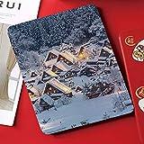 カスタムiPad mini 4 ケース (iPad mini 5 2019モデル非対応) 2つ折スタンド オートスリープ機能雪の中のアジアの白川郷歴史村岐阜中部地方日本イメージデコレーション