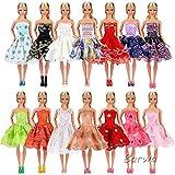「Barwawa」ランダム5枚セット 人形 バービー 服 ドレス ジェニー 服  ウェア ドール用 人形用 アクセサリー ジェニー ドレス  手作り 1/6ドール用 プリンセスドレス