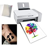 10 Sheets A4 Temporary Tattoo Transfer Paper Printable Waterproof Transfer Paper DIY Customized for Laser Printers and UV Ink