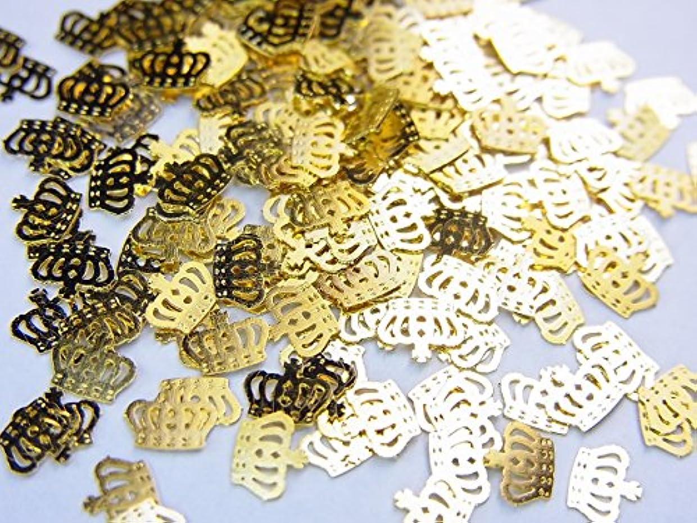 活発幸福させる【jewel】薄型ネイルパーツ ゴールド王冠クラウン10個