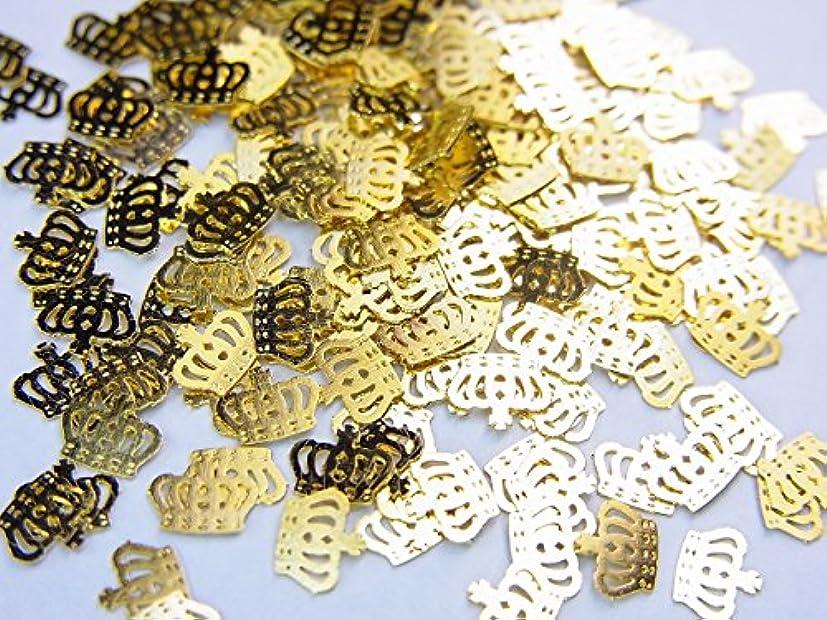 子供っぽいマラウイ読書【jewel】薄型ネイルパーツ ゴールド王冠クラウン10個