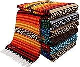 El Paso Designs Peyoteヒッピー毛布。クラシックスタイルMexican Falsaストライプパターンin Vivid Peyote色。Throw、ベッド、タペストリー、またはヨガブランケット。手編みアクリル、57cm x 74。」 ツイン オレンジ EPONPT-09