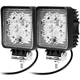 CooAgo LEDワークライト 作業灯 27W 汎用 10V-30V対応 長寿命 フラッドライト 4インチ 角型 9連LED 車外灯 農業機械 (12V/24V兼用) 白 2個セット