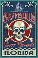 Boca Grande、フロリダ州 – Gasparilla Skull and Crossbones 24 x 36 Signed Art Print LANT-41866-710