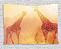 "AmbesonneサファリDecorコレクション、African Safari Collages withネイティブワイルドサバンナの動物エキゾチックLands Lonely Planetフォト、ベッドルームリビングルーム寮壁吊り下げタペストリー、マルチ 60"" W By 40"" L wid_14689_60x40"