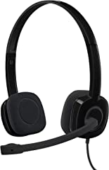 Logitech 981-000587 H151, Lightweight 3.5mm Stereo Headset w/ Noise-Cancelling Boom Microphone, Black