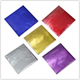 500 Pcs 5 Colors Chocolate Candy Wrappers Aluminium Foil Paper Wrapping Papers Square Sweets Lolly Paper Food Safety Candy Ti