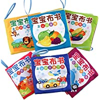 (6 in 1 Pack, 12 Page) - Baby Fabric Book Early Education Toys Chinese-English Bilingual Learning Toys Baby Non-Toxic Cloth Book Washable (6 in 1 Pack, 12 Page)