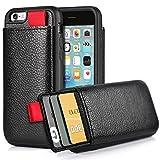 iPhone6 ケース iPhone6s ケース レザーケース 耐衝撃 カード収納 財布型 落下防止 TPU × PC 2重構造 カバー アイフォン6 ケース専用 4.7 インチ(ブラック)