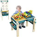 Kids Art Easel & Multi Kids Activity Table with Chair 9-in-1 Adjustbale Kids Art Table Foldable Whiteboard Easel and Building