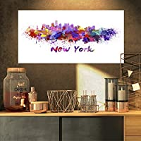 "DesignArt 4パネル"" New York Skyline都市景観」キャンバスアートワーク印刷 32x16"" パープル PT6592-32-16"