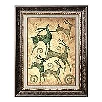 壁画Triptych Fortune Deerフラワーコンチネンタルソファ背景壁画リビングルーム装飾画レストラン入口 (Color : A, Size : 70*90CM)