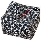 エムール 日本製 天然そばがら 正座クッション そばがら枕 中(22×22×13cm) 麻の葉 あお